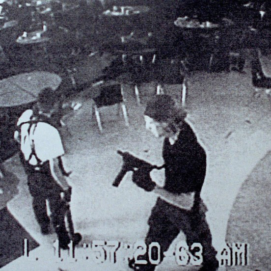 LITTLETON, CO - APRIL 20: (VIDEO CAPTURE) Columbine high school shooters Eric Harris (L) and Dylan Klebold appear on a surveillance tape in the cafeteria at Columbine High School April 20, 1999 in Littleton, CO during their shooting spree which killed 13 people.   (Photo by Kevin Moloney/Getty Images)