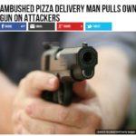 Zaatakowany dostawca pizzy uszedł z życiem dzięki posiadanej broni.