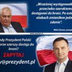 Prezydent Czech za szerszym dostępem do broni palnej.