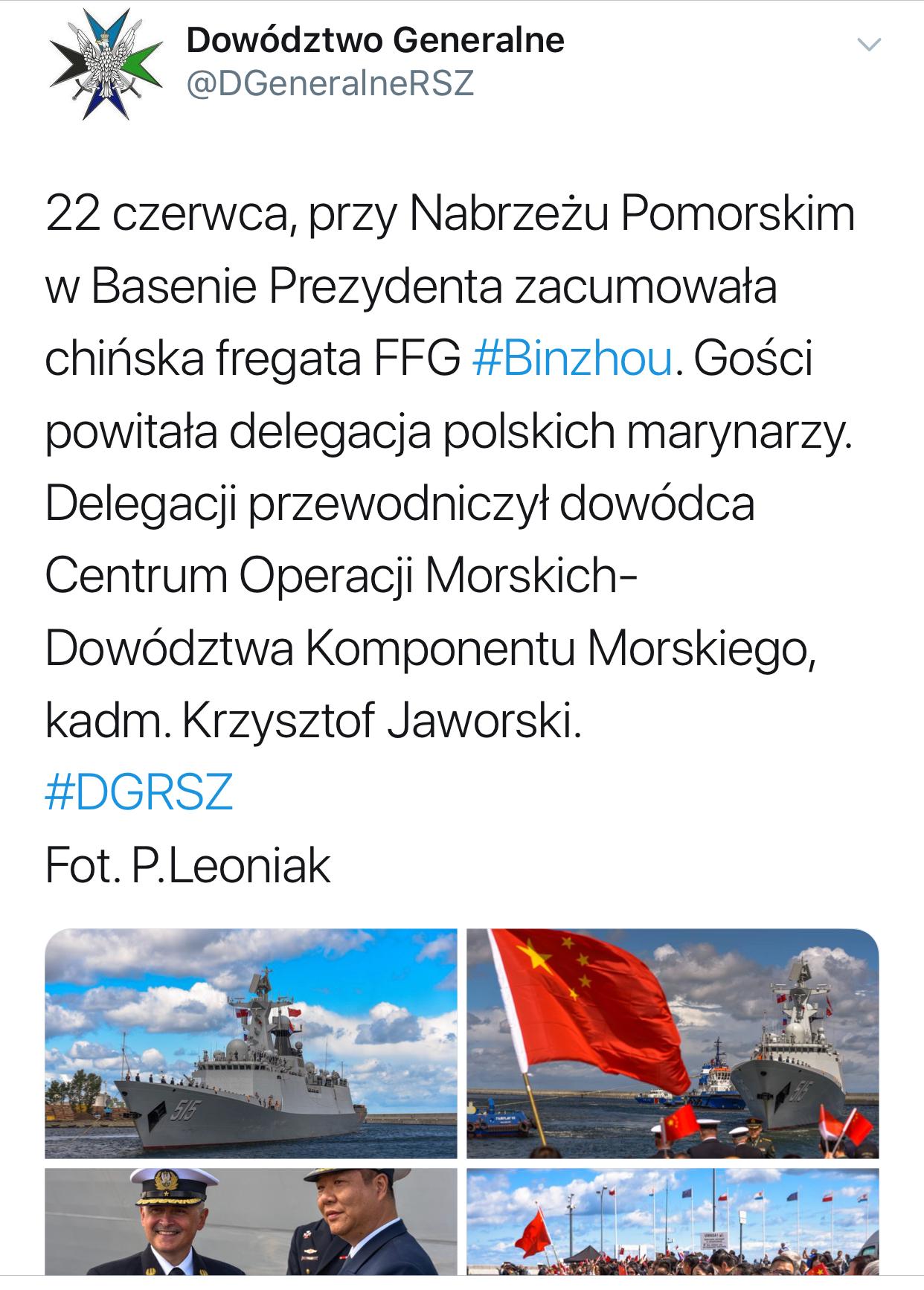 e591c9e8c5c28 Na Twitter Dowództwo Generalne Rodzajów Sił Zbrojnych pochwaliło się  uroczystym przywitaniem okręgu wojennego ludowowyzwoleńczej armii  komunistycznych Chin ...