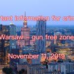 Ukazał się Dziennik Ustaw z rozporządzeniem o zakazie noszenia i przenoszenia broni w Warszawie